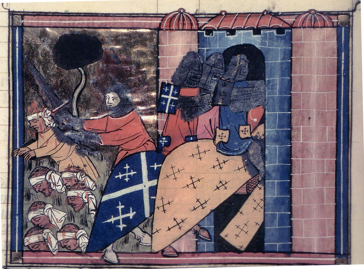 Knights fighting from a French hand scripture 1337 AD
